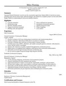 general contractor resume writing general contractor cv exle for construction livecareer