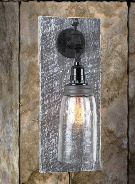 barnwood light fixtures sconce barn wood jar light fixture without rope
