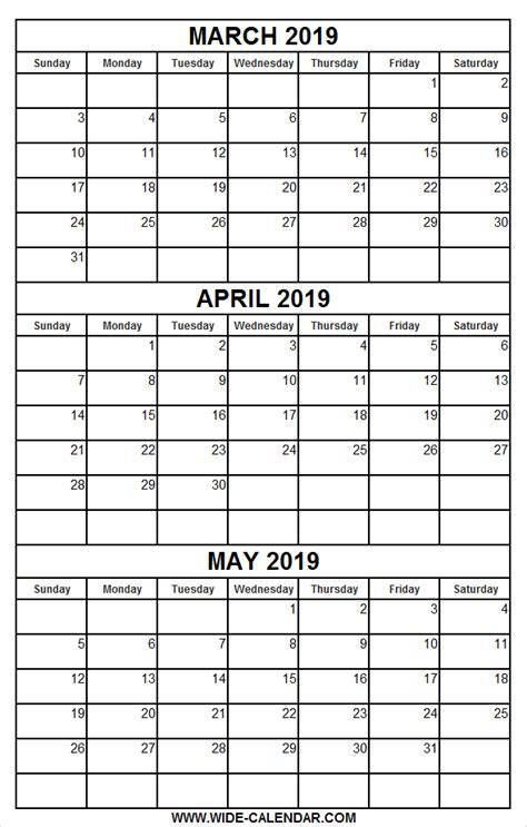 printable calendar march april   printable