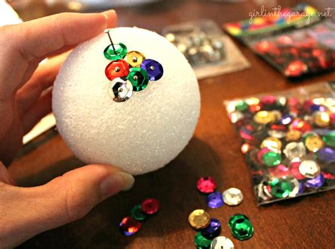 Diy Sequin & Tack Ornaments Craft Christmas Tree Decorations School Ideas Table Centerpieces Gift For Toddlers Crafts Babies Mason Jars Supplies Wholesale
