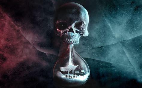 people digital art hourglasses skull  dawn video