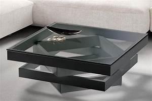 Table Basse Carrée Verre : table basse carr e bois laqu multicouleurs gris et verre kaz ~ Teatrodelosmanantiales.com Idées de Décoration