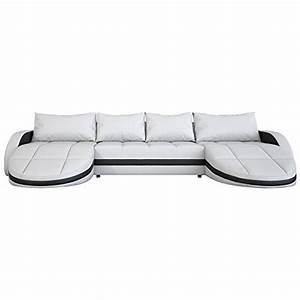 2 Sitzer Sofa Mit Recamiere : wohnlandschaft wei schwarz in leder optik edle designer couch mit led gro er 4 sitzer 364 cm ~ Frokenaadalensverden.com Haus und Dekorationen