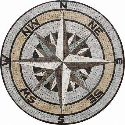 Compass Mosaic Nautical Floor Sea Medallion Tile