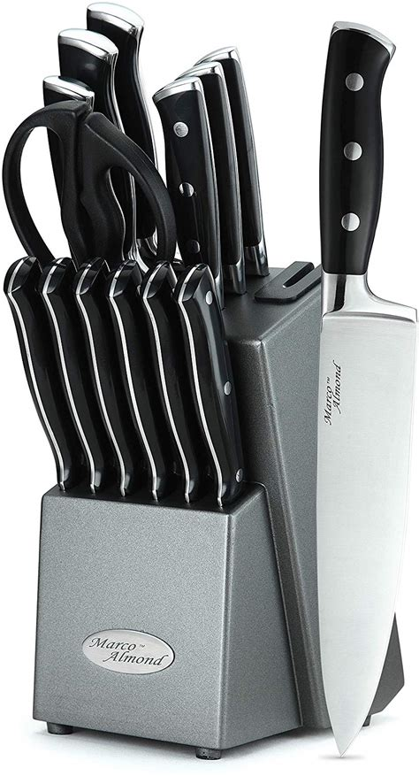 knife sets steel kitchen japanese knives stainless almond marco cutlery block built pieces wood