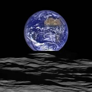 Earthrise as seen from LRO orbiting the Moon.