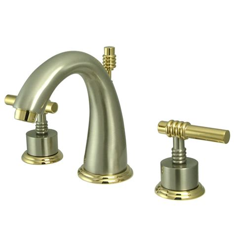 Brushed Nickel And Gold Bathroom Fixtures by Kingston Brass Ks2969ml Widespread Lavatory Faucet