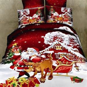 bordeaux red and white children christmas themed santa claus and deer print winter snow scene
