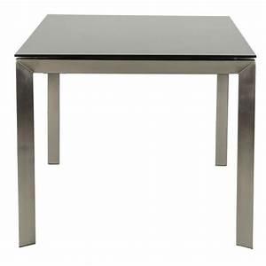 Table Haute En Verre : table design rectangulaire avec rallonge mona en verre tremp et inox 160 230cmx90cmx74cm noir ~ Teatrodelosmanantiales.com Idées de Décoration