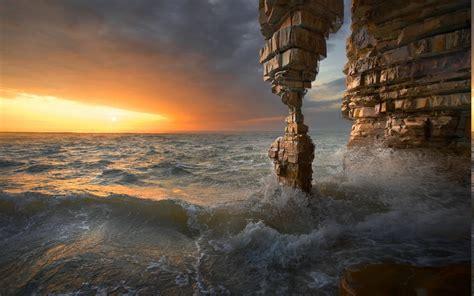 nature, Landscape, Sunset, Sea, Rock, Cave, Erosion ...