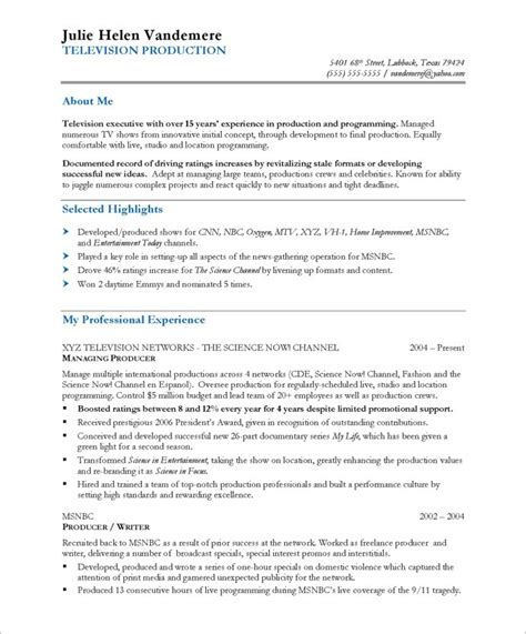 Tv Production Resume Exles by Tv Producer Free Resume Sles Blue Sky Resumes