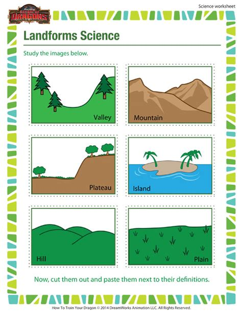 landforms science worksheet 3rd grade science worksheet