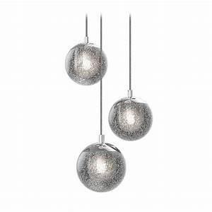 Handheld Globe Light Seeded Glass Globe Led Multi Light Pendant Chrome Sonneman