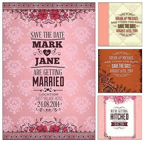 pink wedding invitation cards vector