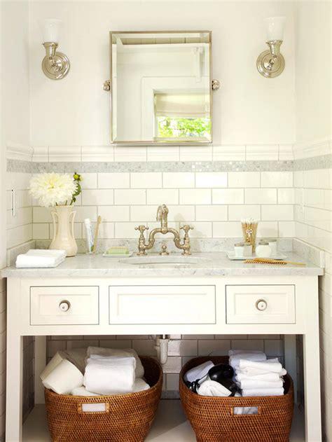 white subway tile bathroom ideas subway tile backsplash cottage bathroom bhg