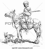 Trapper Clipart Drawing Clipground Rifle Dog Illustration Frederic Remington sketch template