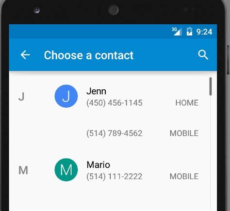 phone number to android contact list only shows one phone number using