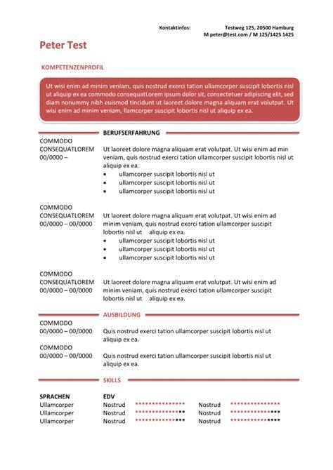 vorlage kompetenzprofil cv im textfeld rot cv bewerbung