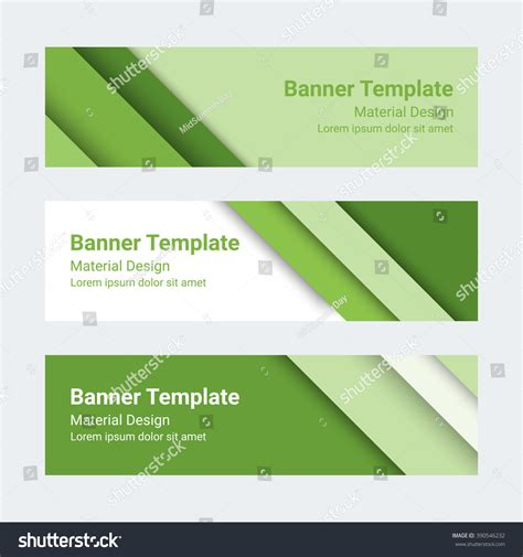material design banners set modern green stock vector