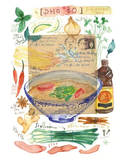 pho watercolor painting poster vietnamese food art asian