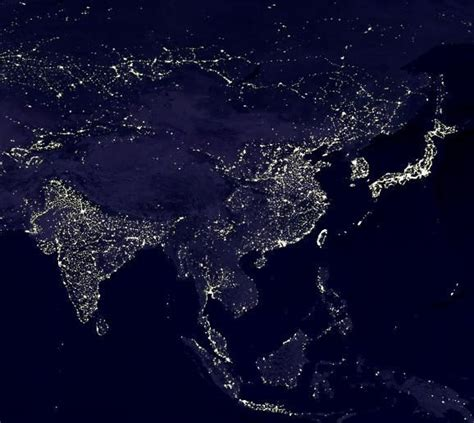 Asia From Space With Great Outlines Of Japan China