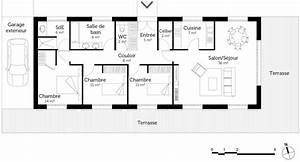 plan maison de plain pied 110 m2 avec 3 chambres ooreka With plan maison plain pied 3 chambres terrasse
