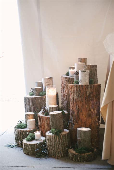 tree stump centerpiece  candles