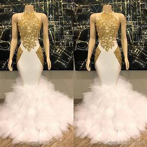 White And Gold Prom Dresses 2019 New Cascading Tiered ...