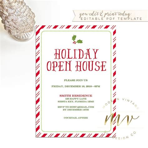 holiday open house invitation template christmas invite
