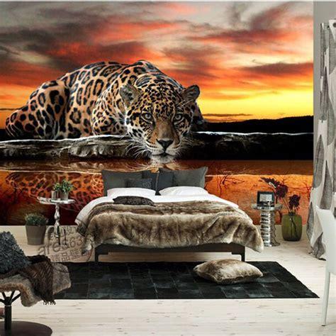 Animal Wallpaper For Bedrooms - custom 3d photo wallpaper animal leopard living room
