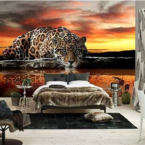Custom 3d photo wallpaper animal leopard living room ...