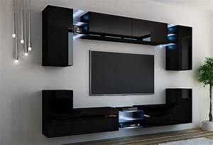 Moderne Wohnwand Hochglanz : kaufexpert wohnwand galaxy schwarz hochglanz mediawand medienwand design modern led ~ Sanjose-hotels-ca.com Haus und Dekorationen