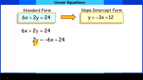 converting linear equations  standard form  slope