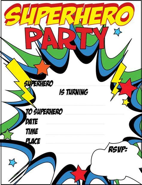 printable blank superhero birthday invitation