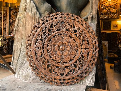 Use one instead of a headboard or as a stunning entryway. Wall Art Hanging. Hand Carved Teak Wood Wall by SiamSawadee
