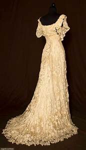 vintage lace wedding dress trained irish crochet gown c With crochet lace wedding dress