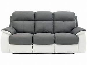 Canapé 3 2 Places : canap fixe 3 places dont 2 relaxation manuel en tissu white coloris gris blanc vente de ~ Teatrodelosmanantiales.com Idées de Décoration