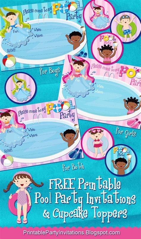 printable pool party invitations  cupcake