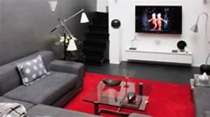 idee deco salon rouge blanc noir With deco salon rouge blanc noir