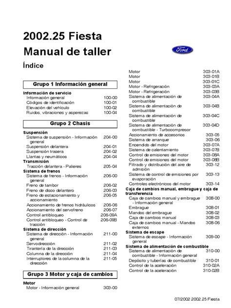 manual ford fiesta motor