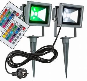 Außenbeleuchtung Mit Fernbedienung Steuern : 2er set rgb led 10 watt au en strahler fernbedienung ~ Watch28wear.com Haus und Dekorationen