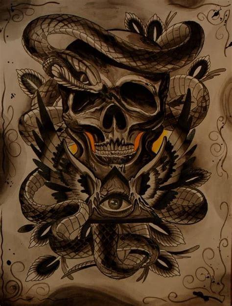 skull snake eye tattoo flash skull pictures tattoos