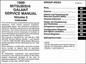1999 Mitsubishi Galant Repair Shop Manual 3 Volume Set