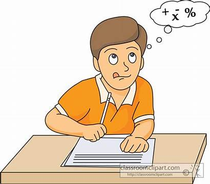 Math Thinking Clipart Test Student Taking Maths