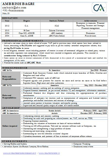 Chartered Accountant Resume Sles India professional cv of chartered accountant chartered