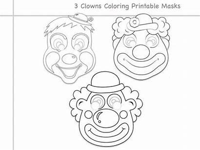 Coloring Printable Mask Clown Line Clowns Props