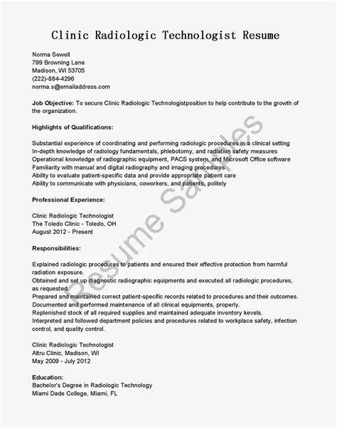 Resume Samples Clinic Radiologic Technologist Resume Sample