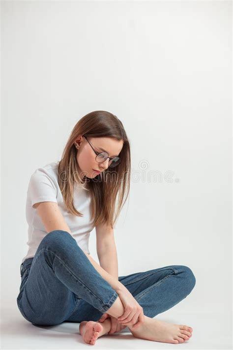 girl   floor  bad mood stock image image