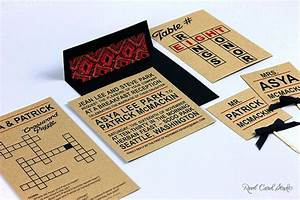 crossword themed invitation and seating cards by real card With studio 7 wedding invitations