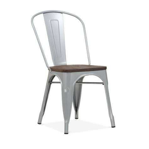 chaise metal tolix powder coated silver side chair with elm wood seat cult
